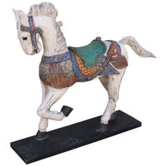 20thc   Century Painted &  Mounted  Carousel Horse