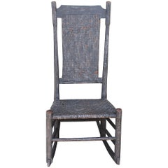 Early 19th Century Original Grey Painted N.E. Tall Back Rocking Chair