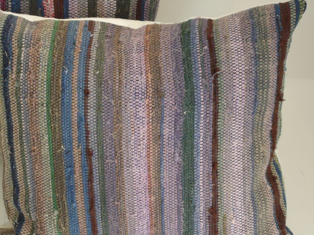 Amish Rag Rug Pillows with Linen Backing 2