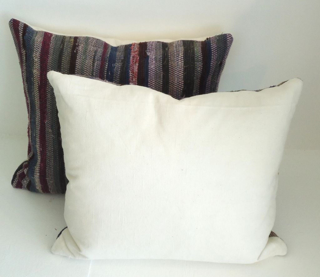 Amish Rag Rug Pillows with Linen Backing 3