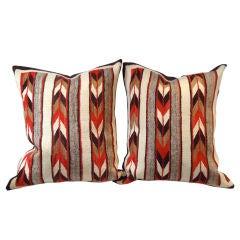 Pair Navajo Weaving Large Bolster Pillows/ Chevron Designs