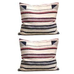 Pair Of Lg. Navajo Weaving Saddle Blanket Pillows
