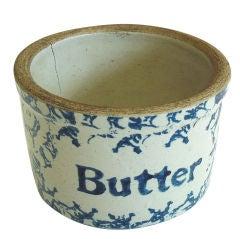 19thc Rare Spongeware Small Butter Crock