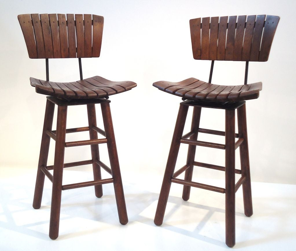 Pair Of Rustic Swivel Bar Stools With Backs At 1stdibs