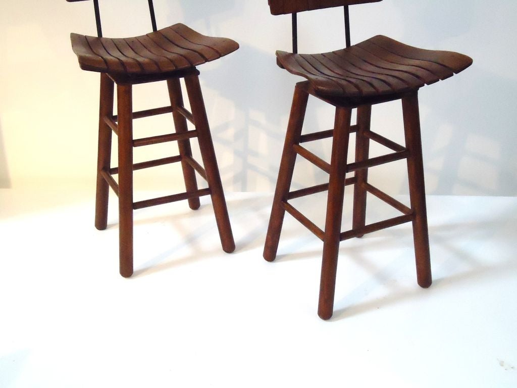 Very Impressive portraiture of Pair Of Rustic Swivel Bar Stools With Backs at 1stdibs with #663D33 color and 1024x768 pixels