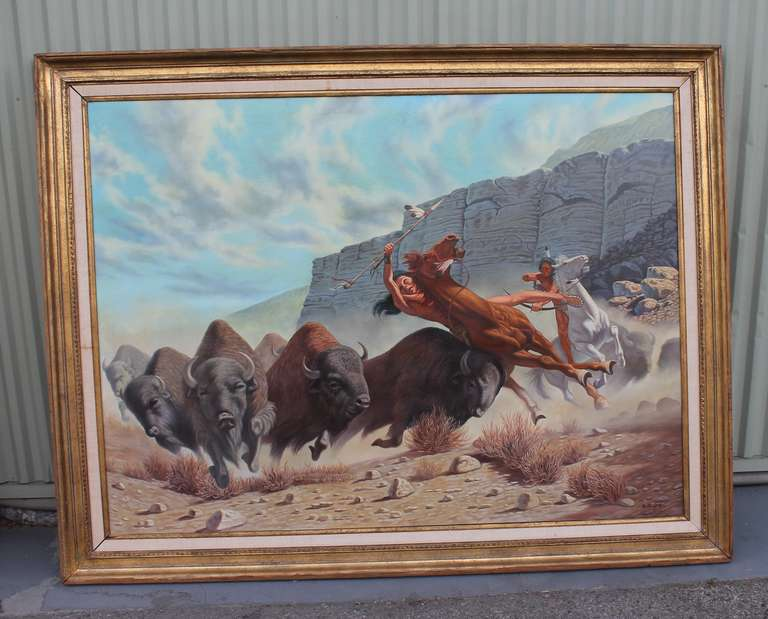This is a fantastic very well done 20th century listed artist western scene painting.It is in its original gilded wood frame. The condition is very good with a small little repair in the lower right hand corner. This shows the Indians on horseback
