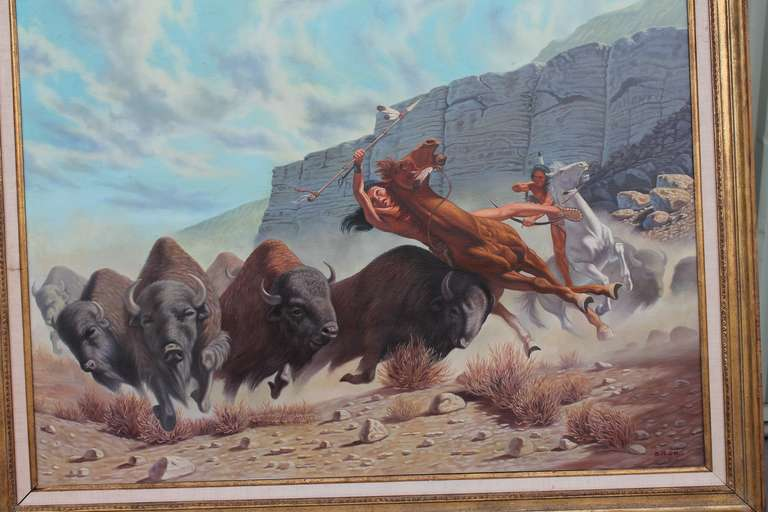 American Monumental 20th Century  Western Oil Painting For Sale