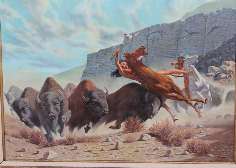 Monumental 20th Century  Western Oil Painting In Good Condition For Sale In Los Angeles, CA