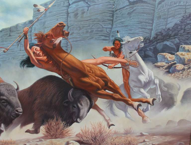 Canvas Monumental 20th Century  Western Oil Painting For Sale