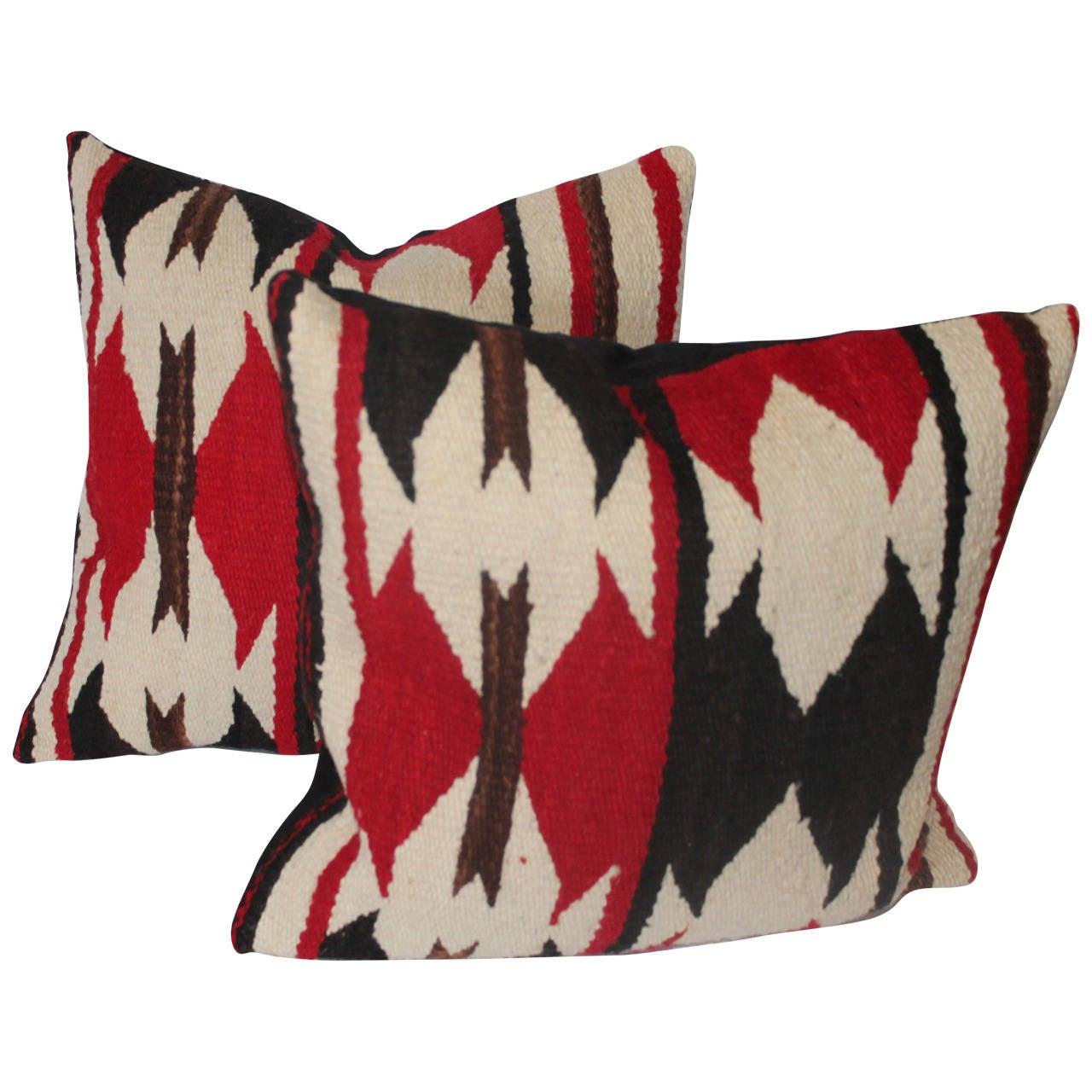 Pair Of Navajo Indian Weaving Geometric Pillows At 1stdibs