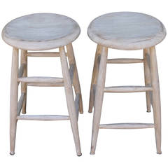 Pair of White Painted Early 20th Century Bar Stools