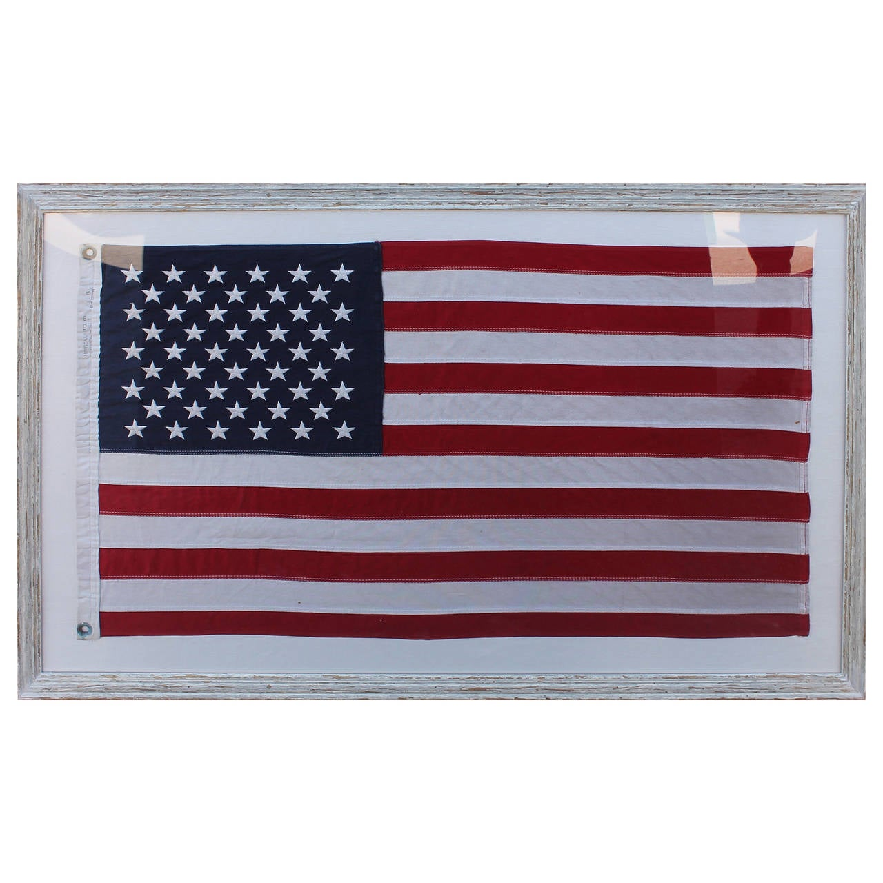 Mid-20th Century 50 Star American Ships Flag with Custom Frame