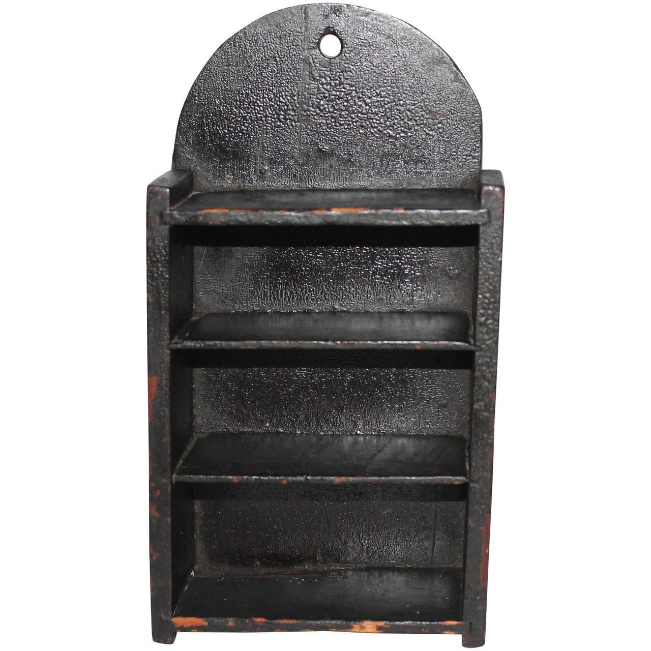 19th Century Original Black Painted Wall Box or Shelf