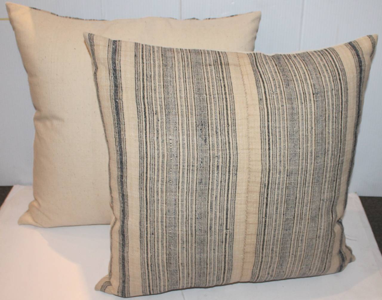 Hand-Crafted 19th Century Pair of Blue and Cream Linen Ticking Pillows For Sale