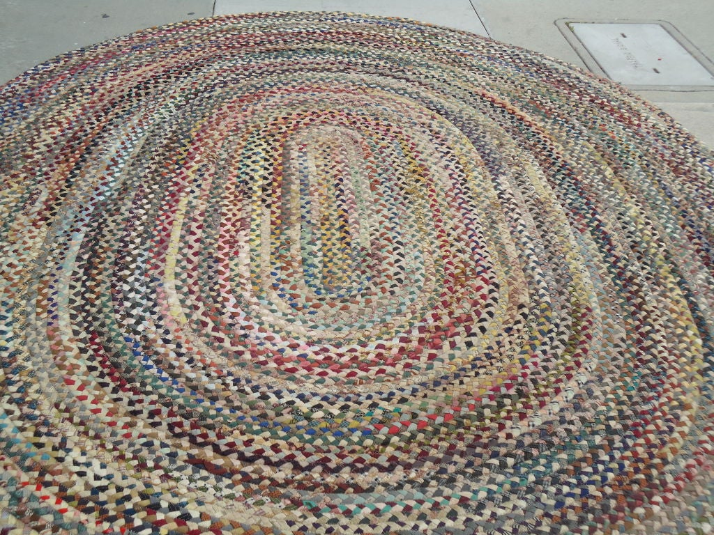 Fantastic oval large multi colored wool braided rug at 1stdibs for Braided rugs