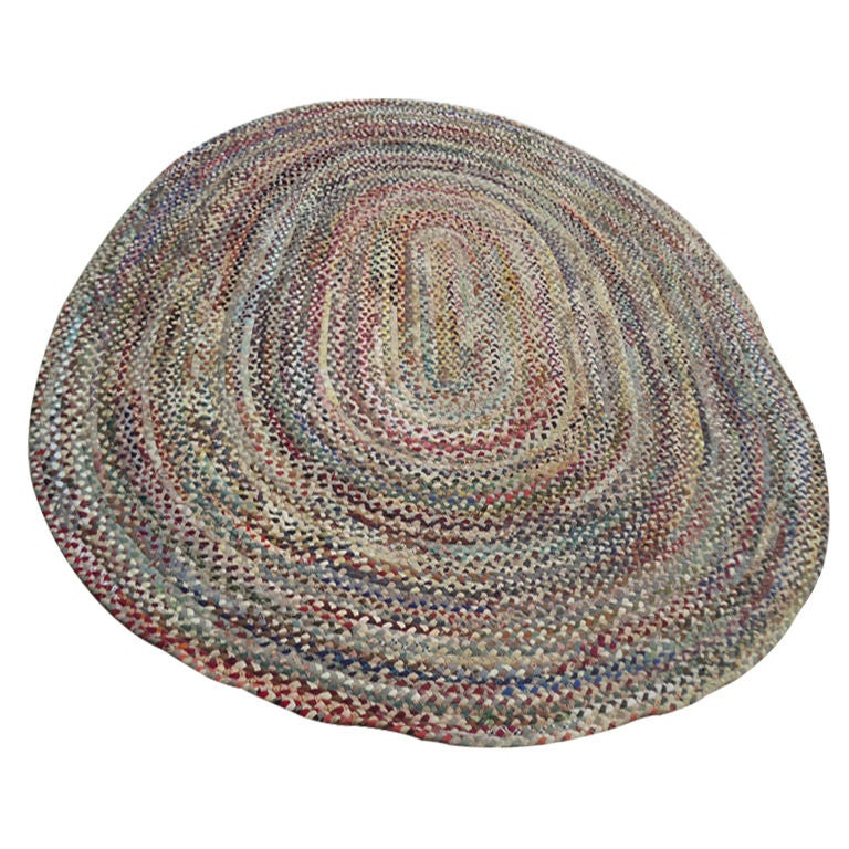 Fantastic Oval Large Multi Colored Wool Braided Rug For