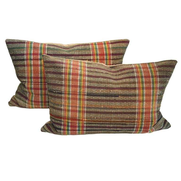 Large Rag Rug Bolster Pillows W/stripes For Sale at 1stdibs