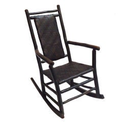 Early 20thc Original Dark Green Painted/signed Oldhickory Rocker