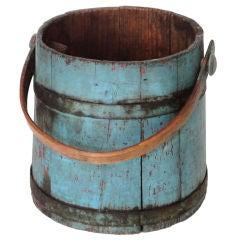 19thc Original Blue Sap/water Bucket W/original Blue Metal Bands