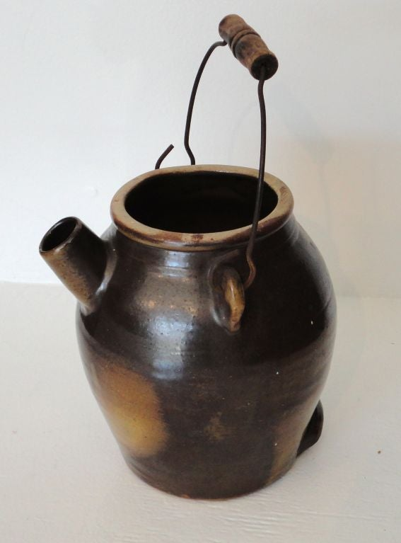 19thc Pottery Batter Jug From Pennsylvania Signed Quot James