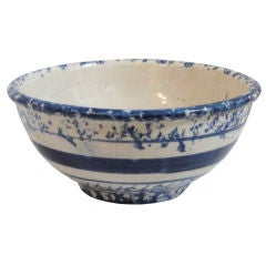 Small And Unusual 19th C. Mixing Spongeware Mixing Bowl
