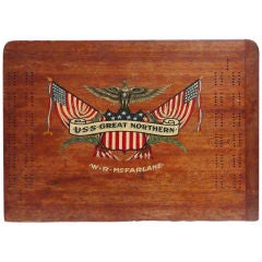 Fantastic Early  20th C. Patriotic Tabletop Cribbage Gameboard