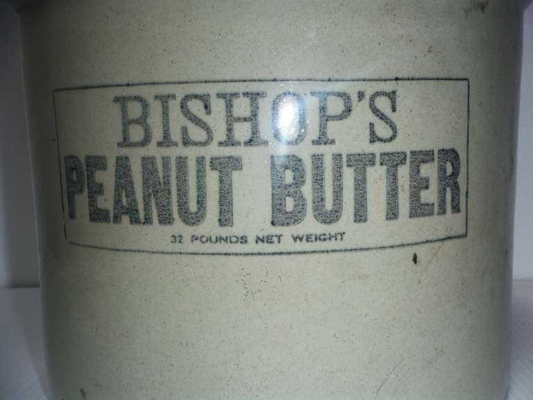 Large 19th Century Quot Bishops Peanut Butter Quot Crock With Lid