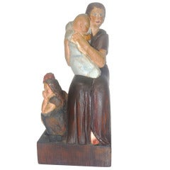 Fantastic Folk Carving Of  a Women ,Child & Baby