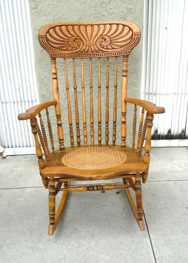 Victorian rocking chair - 19thc Pine Oak Victorian Rocking Chair W Cane Seat 2