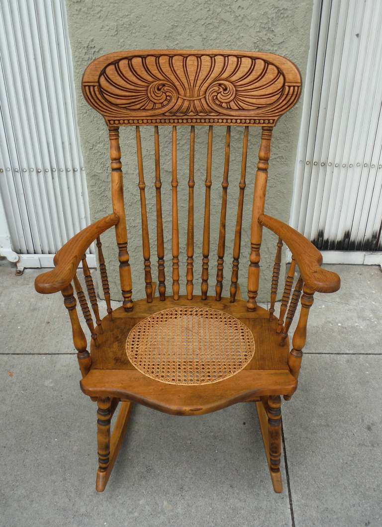 Victorian rocking chair - 19thc Pine Oak Victorian Rocking Chair W Cane Seat 3