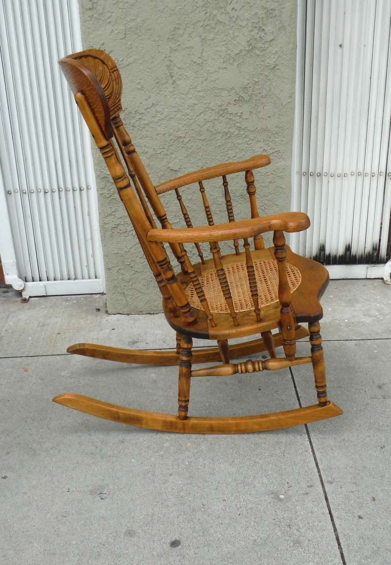 19thc Pine And Oak Victorian Rocking Chair W Cane Seat At