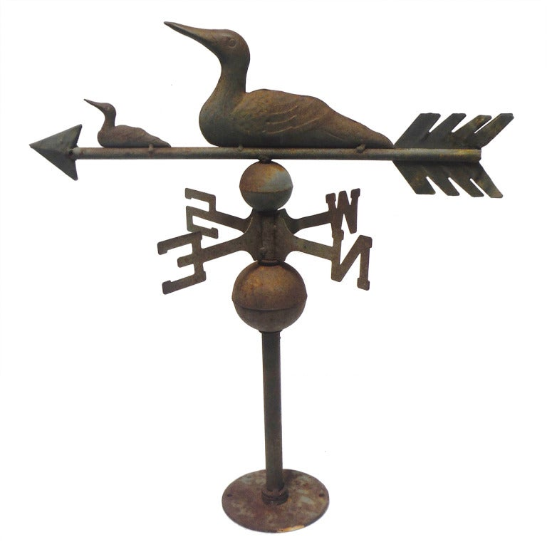 Amazing Ducks Tabletop Weathervane In Original Surface For Sale
