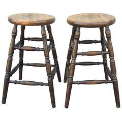 Pair of Plank Seat Bar Stools With Original Black Painted Surface