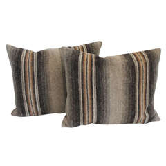 Pair of Soft Wool Indian Weaving Bolster Pillows