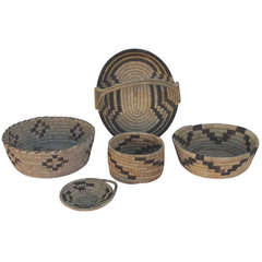 Collection of Five Papago Indian Woven Baskets