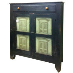 Fantastic 19thc Original Painted Pie Safe W/unusual Punched Tins