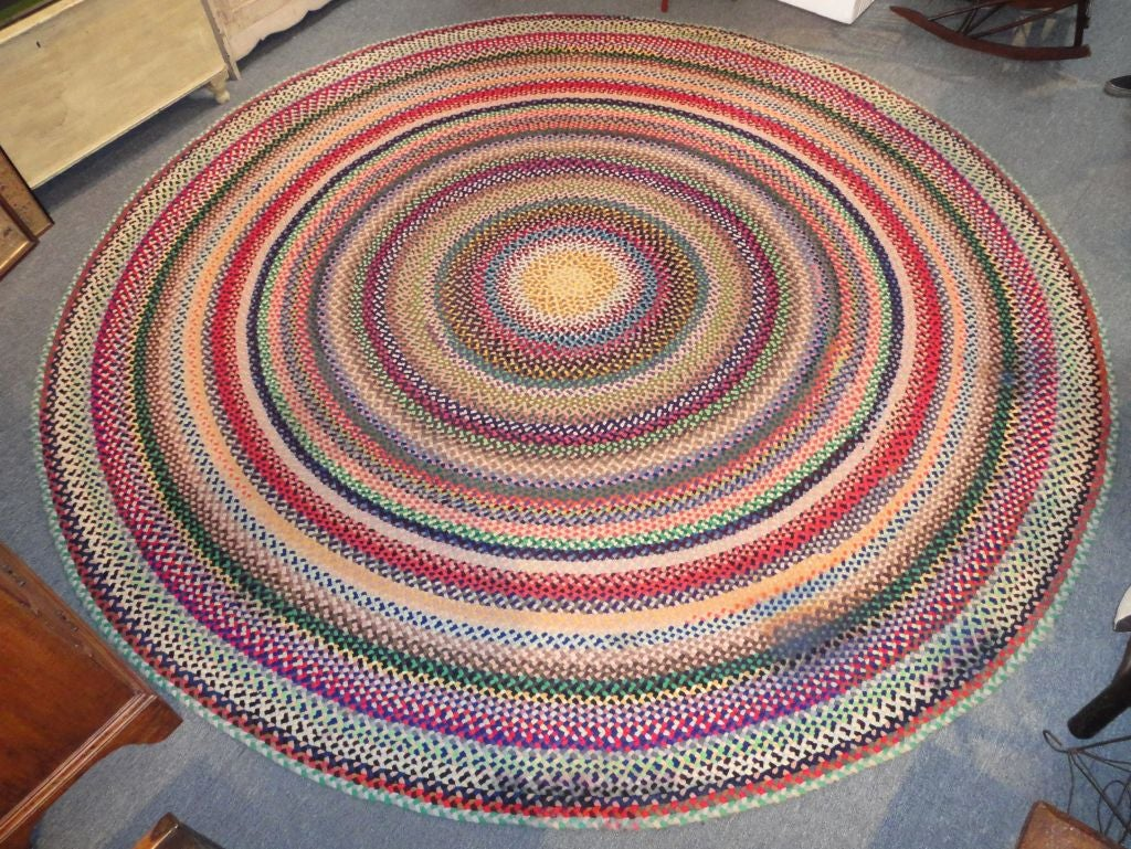 Wonderful Large Hand Braided Colorful 11 Foot Round Rug