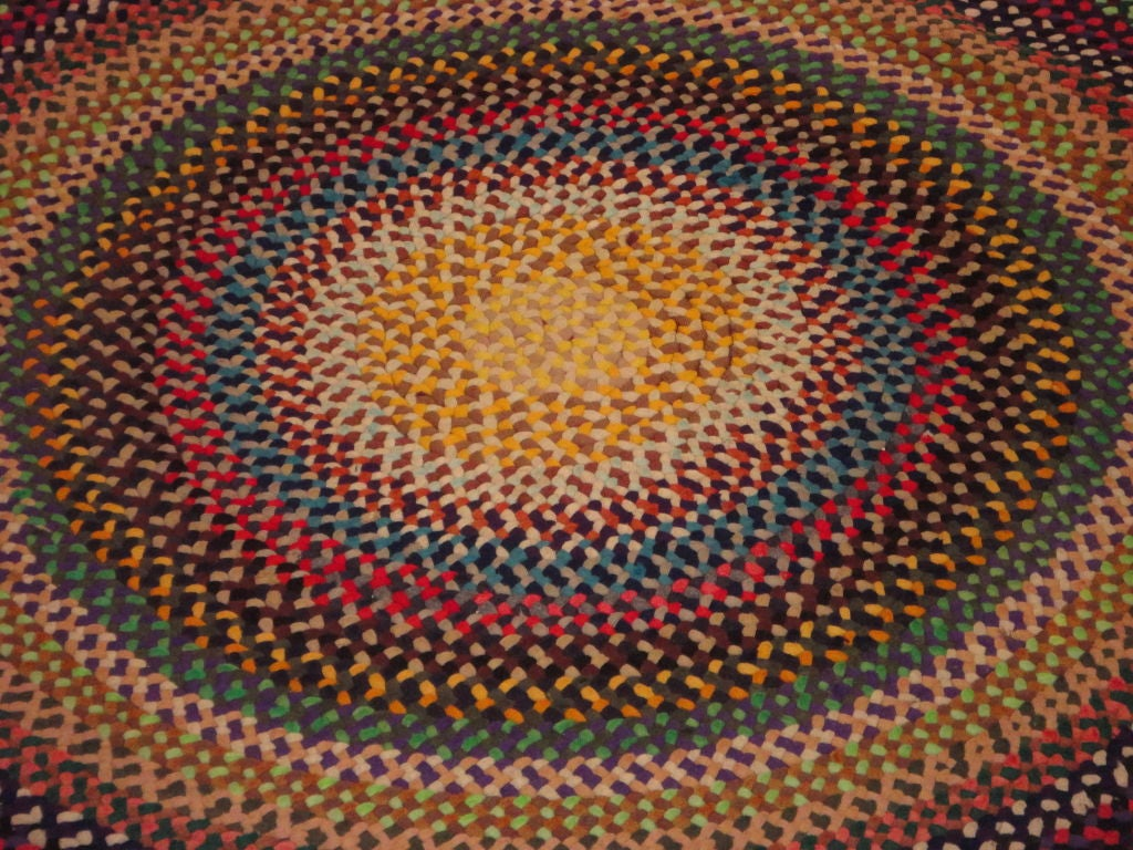 Wonderful large hand braided colorful 11 foot round rug for Where to buy round rugs