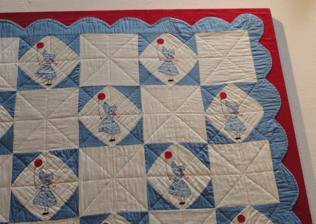 American Folky Mounted Red/White/Blue Sunbonnet Sue Crib Quilt with Balloon For Sale