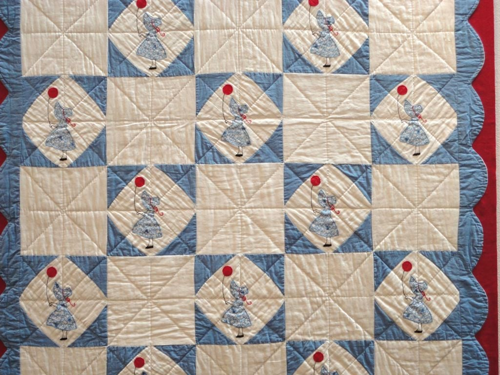 Folky Mounted Red/White/Blue Sunbonnet Sue Crib Quilt with Balloon In Good Condition For Sale In Los Angeles, CA