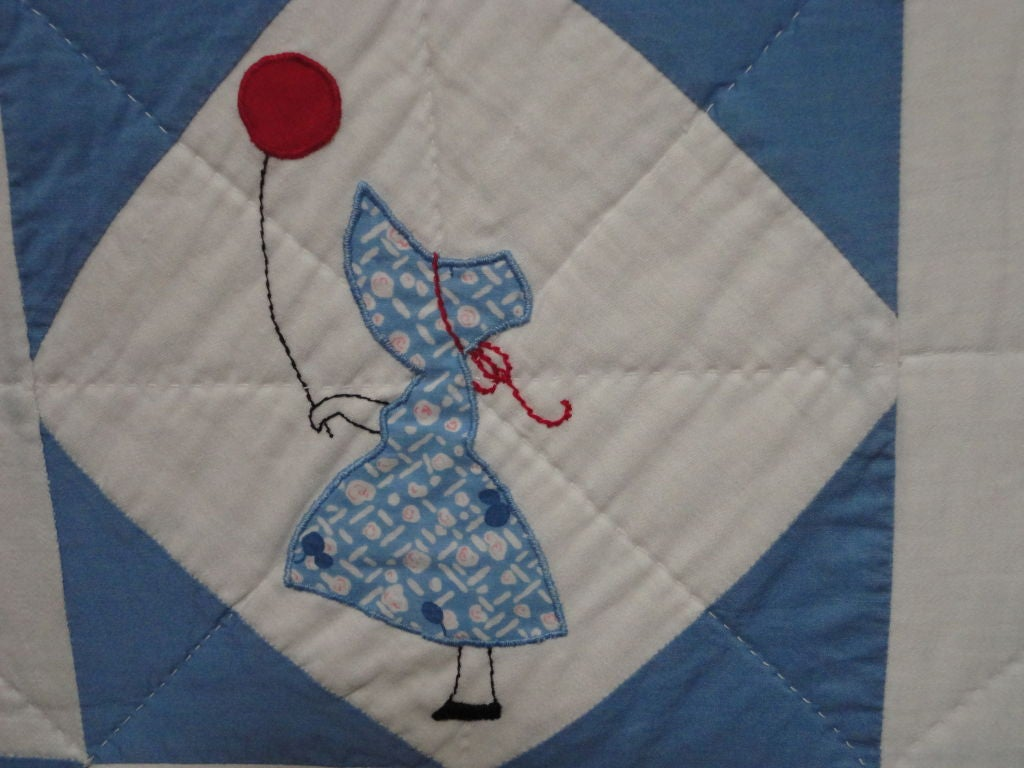 Mid-20th Century Folky Mounted Red/White/Blue Sunbonnet Sue Crib Quilt with Balloon For Sale