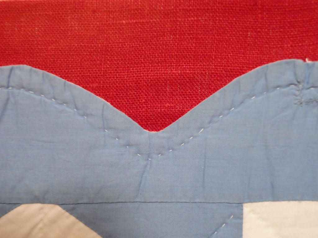 Cotton Folky Mounted Red/White/Blue Sunbonnet Sue Crib Quilt with Balloon For Sale