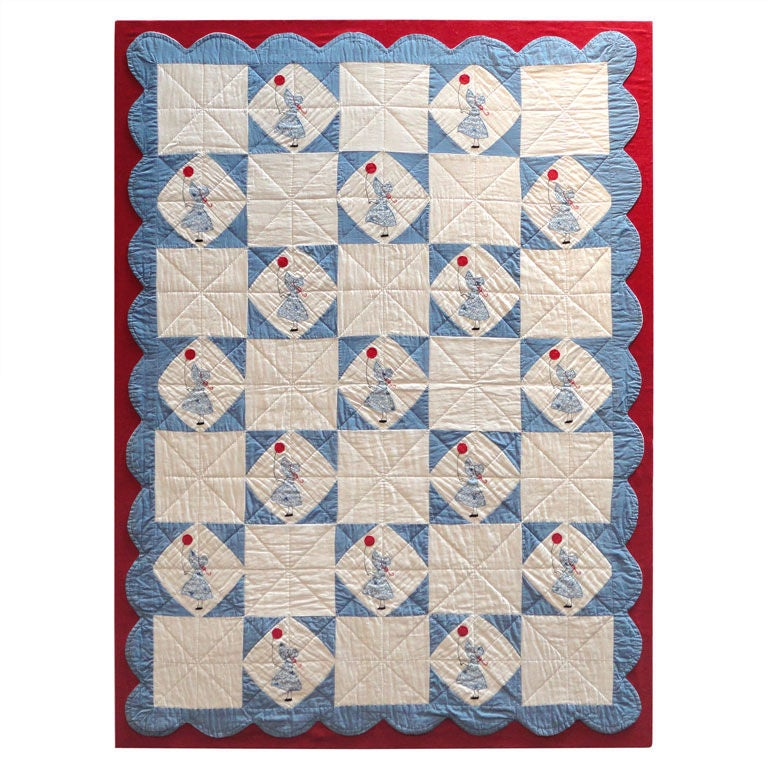 Folky Mounted Red/White/Blue Sunbonnet Sue Crib Quilt with Balloon For Sale