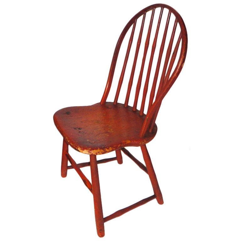 Fantastic 19th Century Original Bittersweet Painted New England Windsor Chair