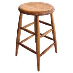 19thc Bar Stool /probably From A Mill-pine