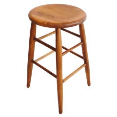 Early 20thc Natural Pine Industrial Bar Stool