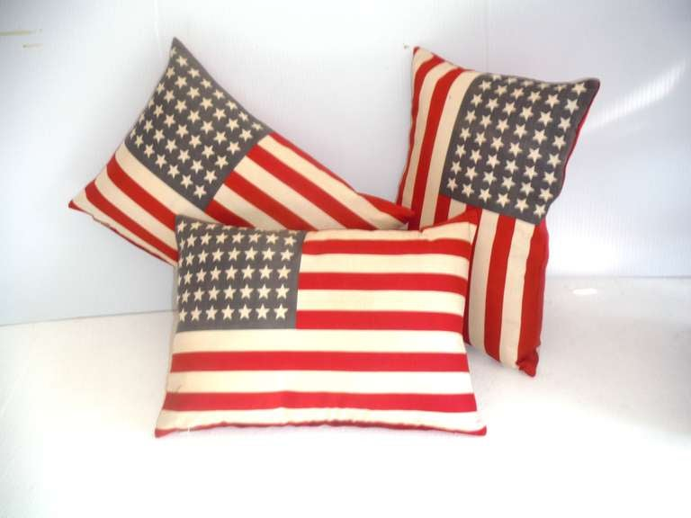 Parade Flag Pillows with 48 Stars & Red Linen Backing 2