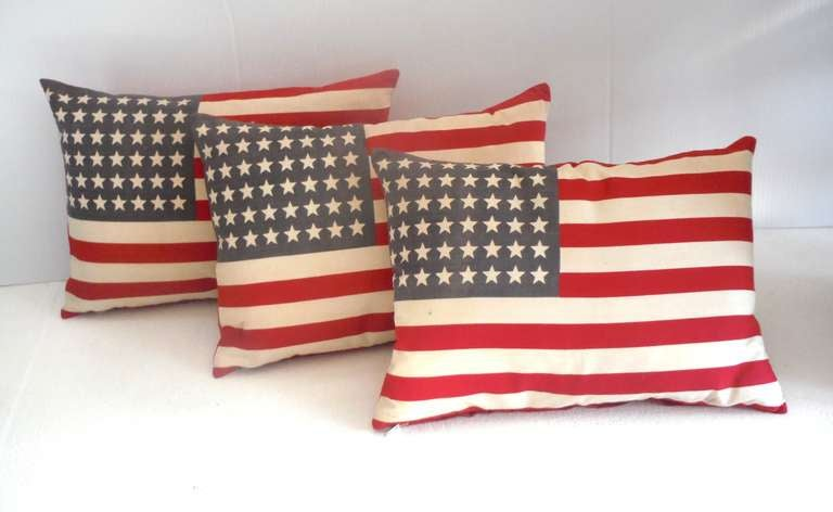 Parade Flag Pillows with 48 Stars & Red Linen Backing 3