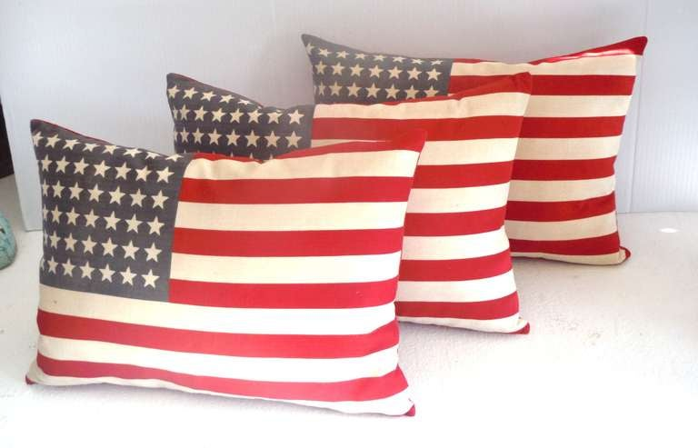 Parade Flag Pillows with 48 Stars & Red Linen Backing 4