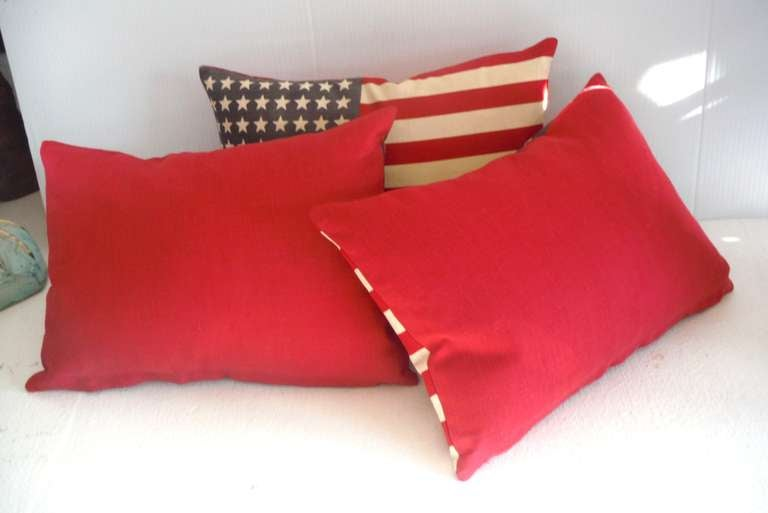 Parade Flag Pillows with 48 Stars & Red Linen Backing 5